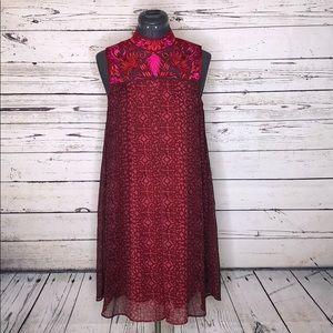 Niki Mahajan 6 Amara Red Embroidered Swing Dress